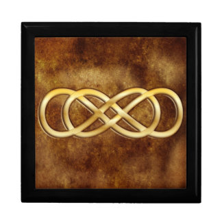 Double Infinity in Gold on Brown Leather Design Jewelry Box