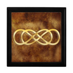 Double Infinity in Gold on Brown Leather Design Keepsake Box