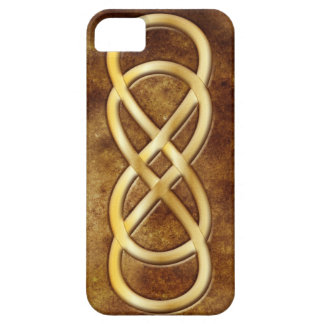 Double Infinity in Gold on Brown Leather - iPhone iPhone 5 Cover
