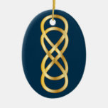 Double Infinity in Gold on Deep Blue Christmas Tree Ornaments