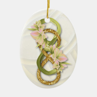 Double Infinity in Gold & Pink Cowlilies - 1 Ceramic Ornament