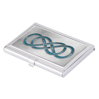 Double Infinity Marbled Aqua 2 - Bus. Card Holder Business Card Case