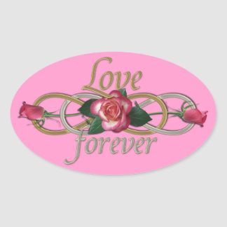 Double Infinity - Roses Love forever Oval Sticker