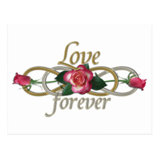 Double Infinity - Roses Love forever Postcard