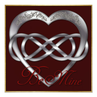Double Infinity Silve Heart 4 - Be Mine! Valentine Card