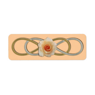 Double Infinity Silver Gold Rose Return Address Label