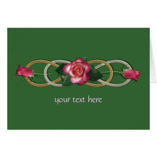 Double Infinity Silver Gold Roses Greeting Card