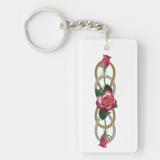 Double Infinity Silver Gold Roses Acrylic Key Chains