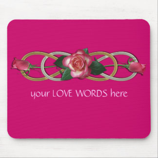 Double Infinity Silver Gold Roses Mouse Pad