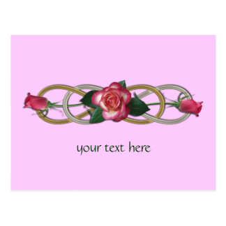 Double Infinity Silver Gold Roses Post Cards