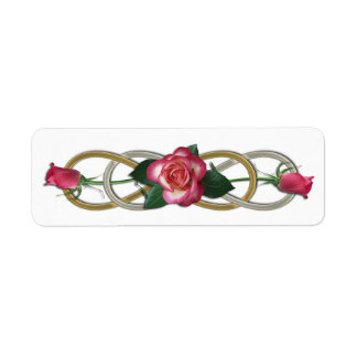 Double Infinity Silver Gold Roses Return Address Label