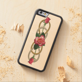 Double Infinity Silver Gold Roses + your backgr. Carved® Maple iPhone 6 Bumper Case