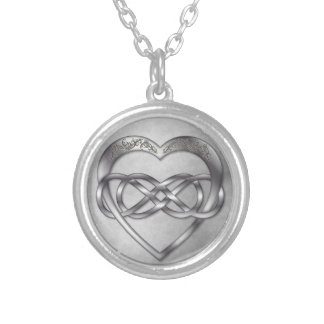 Double Infinity Silver Heart 1 - Necklace