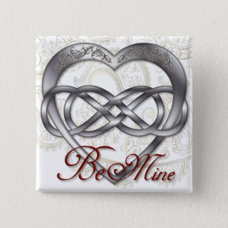 Double Infinity Silver Heart 1 - Sq. Button