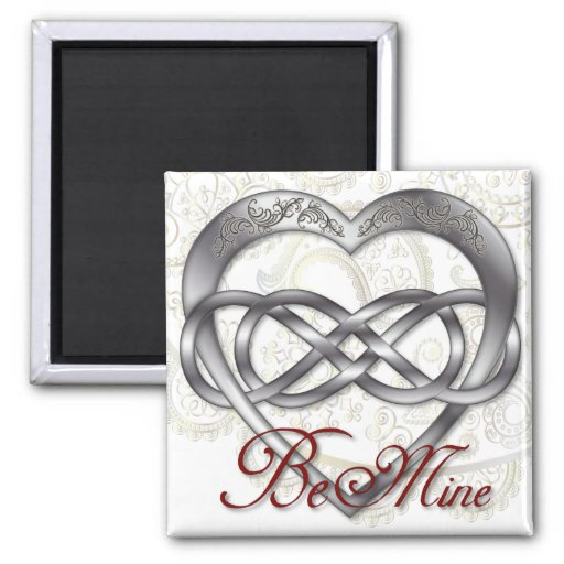 Double Infinity Silver Heart 1 - Sq. Magnet