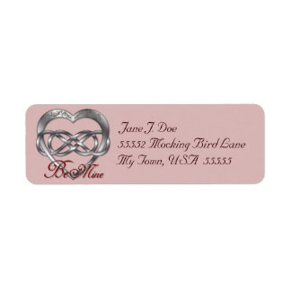 Double Infinity Silver Heart 2 - Address Label