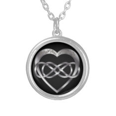 Double Infinity Silver Heart 2 - Necklace at Zazzle