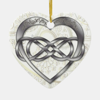 Double Infinity Silver Heart 2 - Ornament