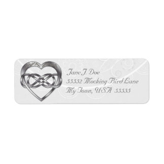 Double Infinity Silver Heart 3 - Address Label