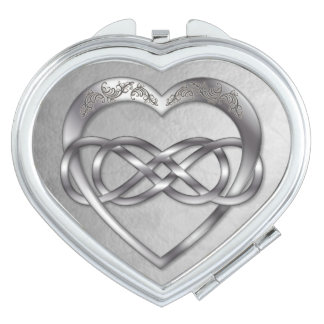 Double Infinity Silver Heart-Heart Compact Mirror