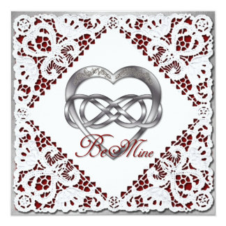 Double Infinity Silver Heart & Lace Card