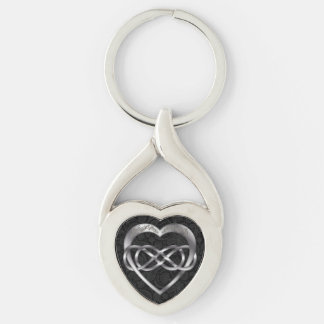 Double Infinity & Silver Heart on Black -Key Chain Silver-Colored Heart-Shaped Metal Keychain