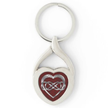 LilithDeAnu Double Infinity & Silver Heart on Red - Key Chain
