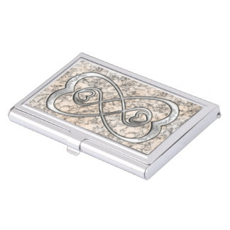 Double Infinity Silver Hearts-Business Card Holder