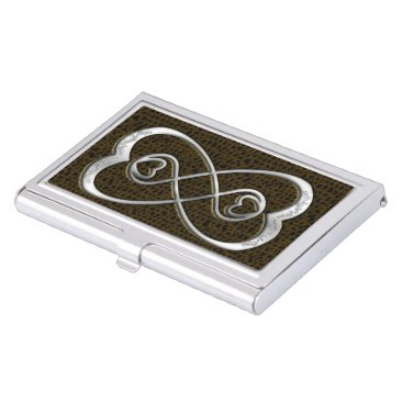 Professional Business Double Infinity Silver Hearts-Business Card Holder