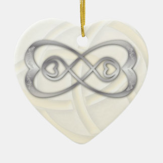 Double Infinity Silver Hearts on White Heart 1 Ceramic Ornament