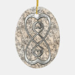 Double Infinity Silver Hearts on White Marble Christmas Tree Ornaments