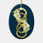 Double Infinity-Woven Gold & Cowlily-on Deep Blue Christmas Tree Ornaments