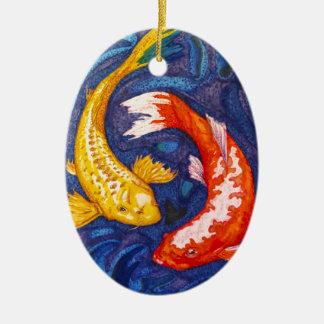 Double Koi Fish Design Ceramic Ornament