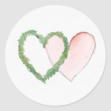 mindystrauss Double Laurel Heart Pink Watercolor Sticker