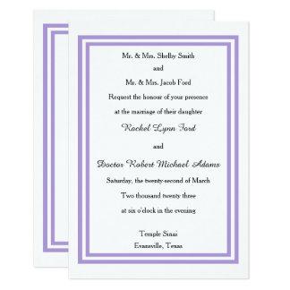 Double Lavender Trim - 3x5 Wedding Invitation