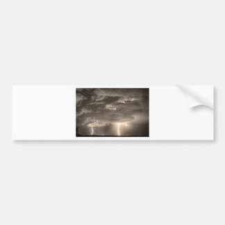 Double Lightning Strikes in Sepia HDR Bumper Sticker