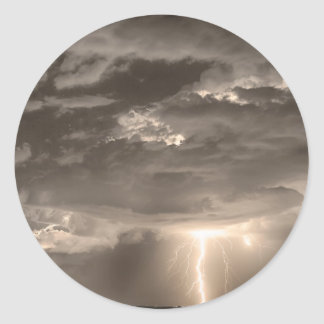Double Lightning Strikes in Sepia HDR Classic Round Sticker