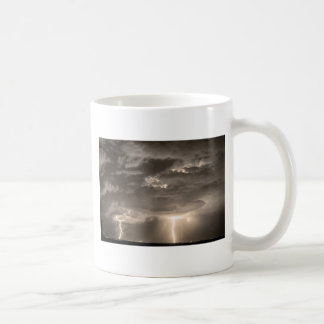 Double Lightning Strikes in Sepia HDR Coffee Mug