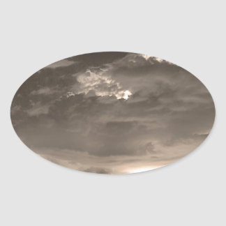 Double Lightning Strikes in Sepia HDR Oval Sticker