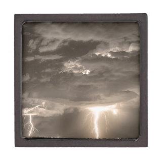 Double Lightning Strikes in Sepia HDR Premium Trinket Box