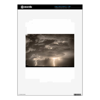 Double Lightning Strikes in Sepia HDR Skin For iPad 2