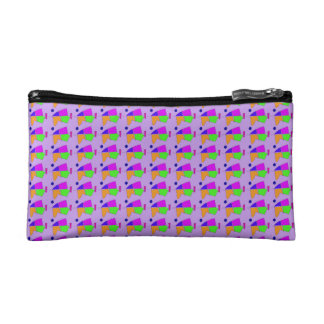 Double Lines Light Purple Cosmetic Bag