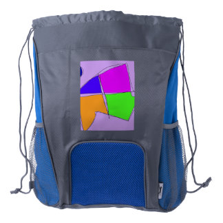Double Lines Light Purple Drawstring Backpack