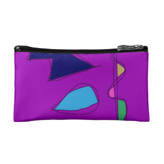 Double Lines Purple Cosmetic Bag