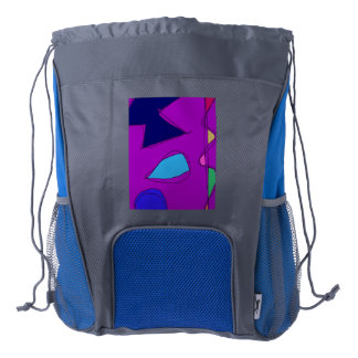 Double Lines Purple Drawstring Backpack