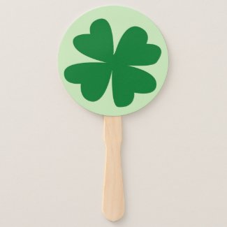 Double Luck Four-Leaf Clover Hand Fan