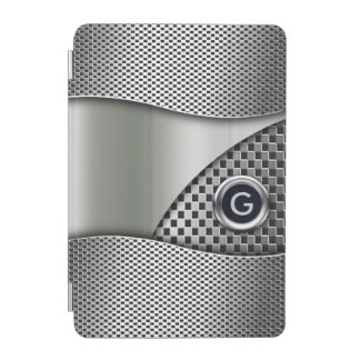 Double Mesh Swoop Monogram | silver pewter iPad Mini Cover
