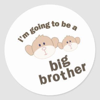Double Monkey Big Brother T-shirt Classic Round Sticker