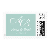 Double Monogram Wedding Save the Date Mint Green Postage