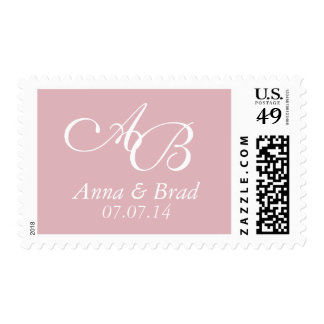 Double Monogram Wedding Save the Date Pink Postage